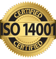 ISO 14001 certified golden label vector image vector image
