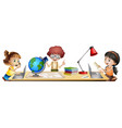 isolated students learning on the table vector image