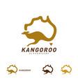 kangaroo and australia map logo design template vector image