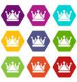 kievan rus crown icons set 9 vector image vector image