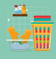 laundry service set products vector image vector image