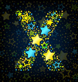 Letter X cartoon star colored vector image