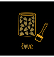 Love paint with hearts inside Brush Gold sparkles vector image