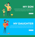 my son and daughter poster with pictures and text vector image vector image