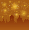 Old Cityscape with Celebration Fireworks vector image