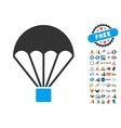 Parachute Icon With 2017 Year Bonus Symbols vector image