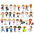 people doing different jobs on white background vector image vector image