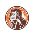 Photographer with vintage camera vector image vector image