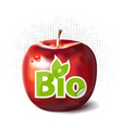Red apple with bio label vector image vector image