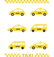 set of taxi car and stripe vector image vector image