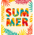 summer card with tropical leaves on background vector image