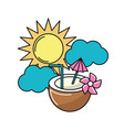 sun with clouds and water coconut to freshness vector image