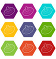 toy spinning top icons set 9 vector image vector image