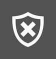 unprotected shield icon on a dark background vector image vector image