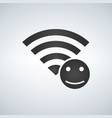 wifi connection signal icon with smile icon in vector image