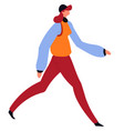 woman in autumn clothes walking female character vector image