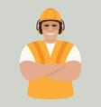 worker smiling in protective helmet vector image vector image
