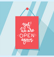 yes we are open again after quarantine design vector image