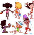 Kids on the beach on a white background vector image