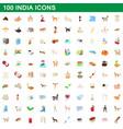 100 india icons set cartoon style vector image