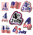 4 July sticker set vector image vector image