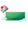 A green signage with balloons vector image vector image