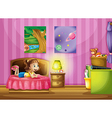 A little girl inside her colorful room vector image