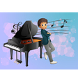 A piano at the back of the musician vector | Price: 1 Credit (USD $1)
