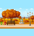 autumn city park with town building vector image vector image