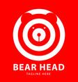 bear head logo circles design template vector image vector image
