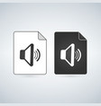 black and white music sound file icon isolated on vector image
