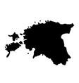 black silhouette country borders map of estonia vector image vector image