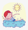 boy playing and swimming with sun vector image