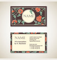 brown floral visit card template vector image