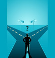 businessman choosing which path he should go vector image vector image