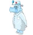 cartoon character hippopotamus doctor vector image vector image
