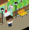 cartoon life isometric theme vector image