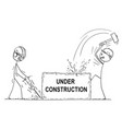 cartoon of two workmen or labourers working with vector image vector image