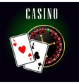 Casino symbol with ace cards over roulette vector image