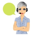 confident female customer support phone operator vector image