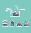 cozy winter houses set snowy landscape vector image vector image