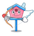 cupid cartoon little bird house in spring vector image