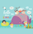 cute cartoon children with big whale in blue vector image vector image