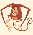 cute monkey blinking cartoon vector image vector image
