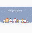 cute santa snowman with animal cartoon hand in vector image vector image