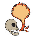 digitally drawn skull and fire blank space design vector image vector image