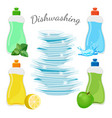 dishwashing means with aromas and clean shiny vector image vector image