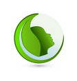 environmental leaf with woman portrait logo vector image