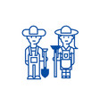 Farmerswoman and man with tools line icon concept