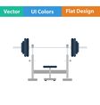 Flat design icon of Bench with barbell vector image vector image